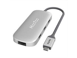 HooToo USB C Hub With Ethernet, HDMI, 100W Power Delivery, 3 USB ports USB C Network Adapter for MacBook Pro & Type C Windows Laptops - Silver