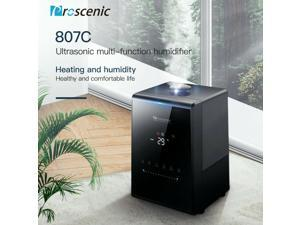 Proscenic 807C Ultrasonic Air Humidifier, App and Alexa Control, Warm and Cool Mist, Customized Humidity, 7 Adjustable Speeds, Baby mode, 5.5L Large Capacity Vaporizer for Bedroom, Black