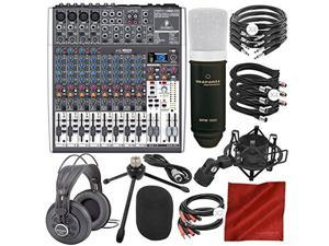 Behringer XENYX X1622USB 16-Input USB Audio Mixer with Effects and Marantz Professional Large Diaphragm Condenser Microphone, Studio Headphones, Platinum Bundle