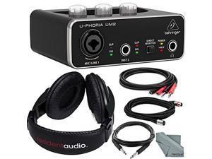 Behringer U-PHORIA UM2 2x2 USB Audio Interface and Accessory Bundle w/ Headphones + Xpix XLR & TRS Cable + 2RCA Male Cable + Fibertique