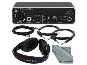 "Behringer U-PHORIA UMC22 2in2out USB Audio Interface and Accessory Bundle w/ Headphones + Xpix 1/4"" and XLR Cable + Fibertique Cloth"