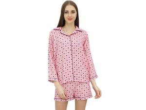 ff001488e9 Bimba Womens Pink Pajama Set Soft Lady 2 Piece Sleepwear Short Nightwear