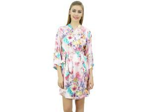Bimba Womens Light Pink Satin Floral Printed Robe ... 4398385ff583