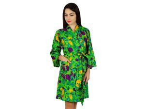 294f23100b Bimba Women Green Short Cotton Robe Bride Bridesmaid Getting Ready Floral  Coverup Gift