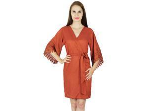 19dbadd933 Bimba Women Short Rayon Robe Lace Sleeve Getting Ready Wrap Bridesmaid Gift