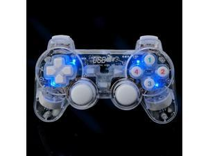 USB Wired Transparent LED Gamepad Double Vibration Game Controller Joystick for PC ...