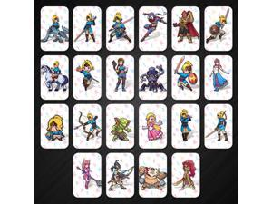 22pcs The Legend of Zelda Breath of The Wild Amiibo NFC Cards Contain 4 Champions 20 Hearts Wolf Link Majora's Mask for NS Switch Wii U