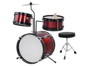 GHP Red 3-Pcs Kids Wooden Shell Kids Drum Set with Drumsticks & Padded Drum Throne