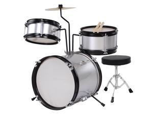 GHP Silver 3-Pcs Kids Wooden Shell Kids Drum Set with Drumsticks & Padded Drum Throne