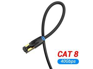 Cat8 Ethernet Cable,High Speed 28AWG Cat8 LAN Network Cable 40Gbps 2000Mhz SFTP Patch Cord with Gold Plated RJ45 Connector in Wall, Outdoor, Weatherproof Rated for Router, Modem, Gaming (1m/3ft)