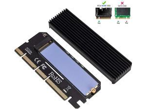[Upgraded] NVME Adapter with Heat Sink, High Performance PCI Express 3.0 x4 to M.2 PCIe SSD (Key M) Card, Support PCIe x4 x8 x16 Slot