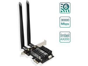 EDUP WiFi 6 Card AX 3000Mbps PCIe Network Card AX200 802.11AX 2.4Ghz/5.8Ghz with Bluetooth 5.0 & Heat Sink Wireless PCI Express Wi-Fi Adapters Dual Band Antenna for Windows 10 64-bit