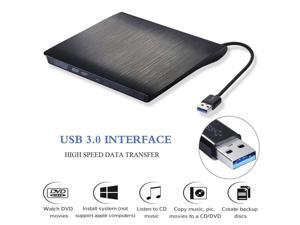 External CD Drive,NURBENN USB 3.0 Portable CD/DVD +/-RW Drive Slim DVD/CD Rom Rewriter Burner Super High Speed Data Transfer for Laptop Desktop Linux OS Apple Mac Macbook Pro and PC Windows XP/Vista