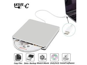 External CD Drive, NURBENN External DVD CD Drive USB C Super Drive External DVD/CD +/-RW Burner Writer Optical Drive Compatible with MacBook Pro Air/Laptop/Windows10 (Silver)
