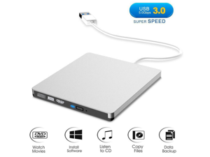 External CD Drive, USB 3.0 Portable CD/DVD +/-RW Drive Slim DVD/CD Rom Rewriter Burner Super High Speed Data Transfer for Laptop Desktop Linux OS Apple Mac Macbook Pro and PC Windows XP/Vista - Silver