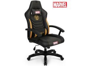 Licensed Marvel Gaming Racing Chair Executive Office Desk Task Computer Home Chair : High Back Recliner w/Ergonomic Head Rest Lumbar Support, Neo Chair (Iron Man, Black)