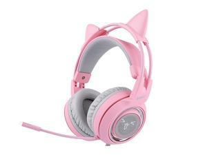 169e15d1d37 SOMIC G951 Pink Lovely Cat Shape Noise Cancelling Girl Gaming Headphones,  Virtual 7.1 Surround Sound