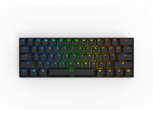 Anne Pro 2 Wired/ Wireless White Gaming Mechanical Keyboard 60% RGB Bluetooth 4.0 PBT Key Cap N-Key Roll Over Type-c Blue Switch (Black)