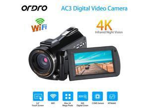 [ Original Authorized ] Ordro AC3 UHD 4K WiFi 24MP 30X Zoom IR Night Vision Camera DV Digital Camcorder HDV AC3