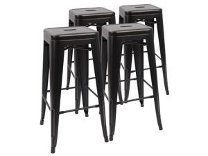 Devoko Metal Bar Stool 30''  Indoor/Outdoor  Barstool Modern Industrial Backless Light Weight Bar Stools With Square Seat, Set of 4 (Black)