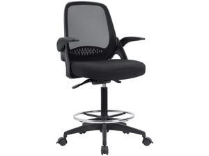 Devoko Drafting Chair with Flip-up Arms Tall Office Chair Executive Computer Standing Desk Chair with Lockable Wheel and Adjustable Footrest Ring (Black)