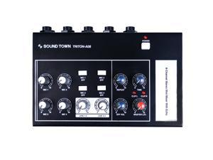 "Sound Town 8-Channel Stereo Microphone Mixer with 1/4"" Inputs and Outputs, Echo Effect, Delay Time and Depth Controls (TRITON-A08)"