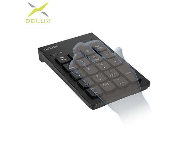Delux K300U USB Ultra-slim Mini Wired Numeric Keypad with Sound Switch and Number Lock for Bank Cashier
