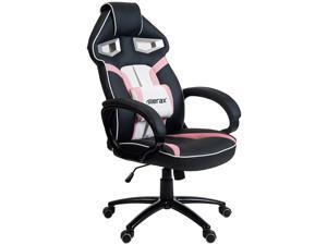 Merax Stylish Devilu0027s Eye Series High Back PU Leather Gaming Chair (Pink)