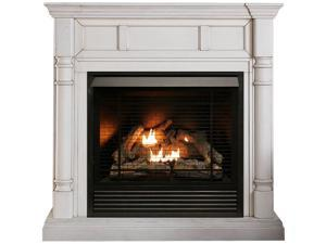 Duluth Forge FDI32R-M-AW Full Size Dual Fuel Ventless Fireplace - 32,000 BTU, Remote Control, Antique White Finish