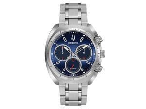 9f4733bf2 Bulova 96A185 Men's Curv Blue Dial Steel Bracelet Chronograph Watch