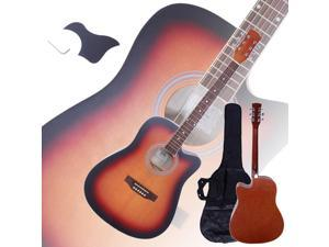 """New 41"""" Full Size Adult 6 Strings Cutaway Folk Acoustic Guitar Sunset Color"""