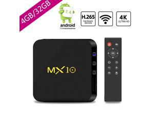 Newest Android TV Box DDR4 4G+32GB,4K Android 8.1 H.265 64bit Media Streaming Player Smart Box with Wireless, Support Media