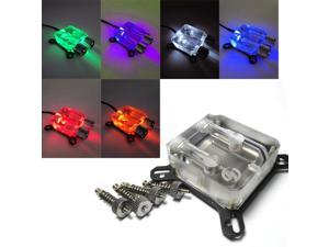 White Universal GPU/VGA Water Cooling Block with fittings ----- LED version