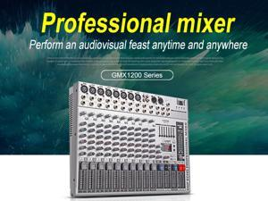 G-MARK GMX1200 Professional audio mixer console Music dj Studio 12 channels 8 mono 4 stereo 7 brand EQ 16 effect USB play