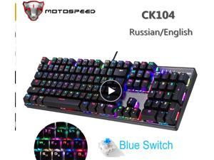 MOTOSPEED CK104 Metal 104 Keys Blue Switch Russian English Gaming Mechanical Keyboard Backlit for Dota 2 Overwatch Gamer