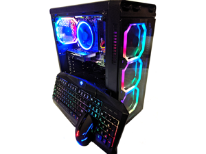 Cobratype SLITHER Gaming Desktop PC - HEX CORE, GeForce RTX 2070, 16GB RAM, SSD, Windows 10, Wi-Fi, CUSTOM RGB LIGHTING, RGB keyboard/mouse included
