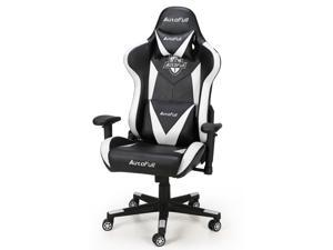 AutoFull Computer Gaming Chair - Adjustable Reclining High-Back PU Leather Swivel Video Game Chair with Headrest and Lumbar Support