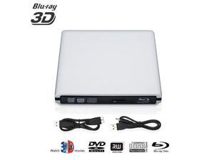 Blu-ray DVD Drive External, 3D 4K Player USB 3.0 Blu ray DVD CD Burner BD Player CD Re-Writer Ultra-Slim Portable Drive Compatible for Mac Book OS Windows 7 8 10 PC (Silver)