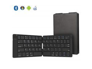 Zgeer Bluetooth Keyboard, Ultra Slim Foldable Bluetooth Keyboard Rechargeable Pocket Sized Keyboard for All iOS