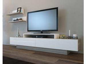 "Decorotika Lusy 71"" TV Stand and Entertainment Center with Accent Shelves - White and Cordoba Oak Colors Combined"