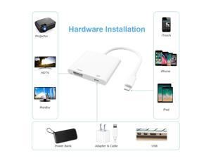 Lightning to HDMI Adapter,Lightning to HDTV Digital AV Adapter 1080P for iPhone