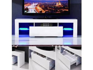 NEW USA 130cm White Nordic Fashionable Design Home Living Room  High Gloss LED Light Shelves TV Stand Unit Cabinet w/FREE LED