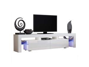 "63"" Modern High Gloss TV Stand Unit Cabinet with LED Shelves 2 Drawer Console  Stylish Contempory Furniture ( black / white )"