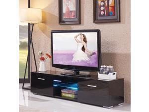 2 Drawers High Gloss Black Modern TV Stand Cabinet with Remote Control LED Shelves