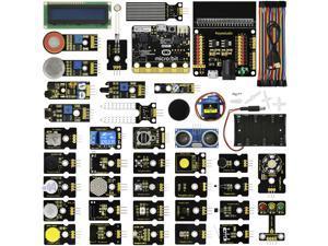 Keyestudio Photocell Passive Digital Buzzer Sound Hall Magnetic Alcohol Gas Reed Switch Micro Servo HC-SR04 Ultrasonic TEMT6000 Ambient Light Flame Sensor 37 in 1 Kit for BBC Micro:Bit
