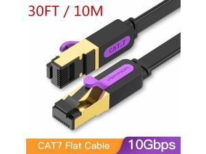 Cat7 Ethernet Cable, Vention Flat High Speed 10 Gigabit LAN Network Patch Cable with Clips, Faster Than Cat6 Cat5e, Shielded RJ45 Connectors for Xbox One, Switch, Router, Modem, Printer- Black/30ft