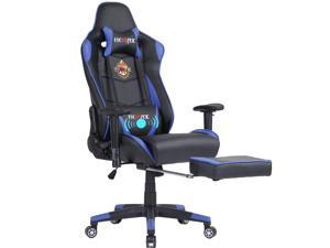 Ficmax High-Back Gaming Chair Racing Style Office Chair Recliner Computer Chair for Gaming PU Leather Ergonomic E-Sports Chair Height Adjustable Gaming Desk Chair with Massage Lumbar Support Footrest