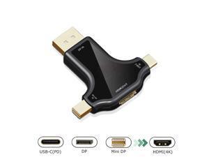 DisplayPort Mini DP USB Type-C to HDMI Adapter 3-in-1 Mini