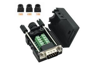 Connector DB9 RS232 D-SUB Male Adapter 9-pin Port Adapter to Terminal Connector Signal Module with case ( Male Connector DB9 5+5 with case A )