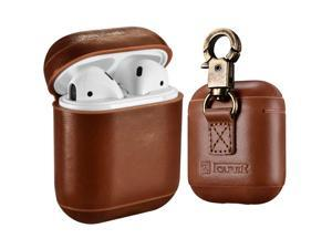 AirPods Leather Case with Strap Werleo Genuine Leather Portable Protective Shockproof Cover for Apple AirPods 1 Case & Airpods 2 case Keychain Support Wireless Charging